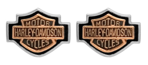 Harley-Davidson Women's Copper Bar & Shield Cameo Post Earrings HDE0261 - Wisconsin Harley-Davidson
