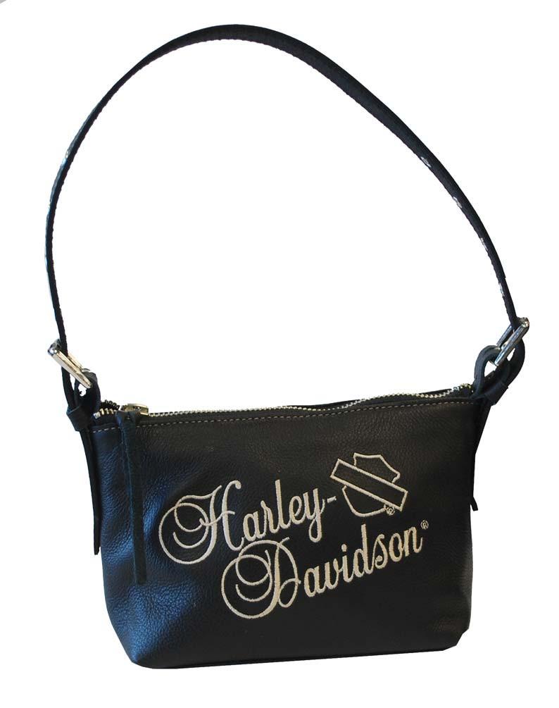 eb99e067347d Harley-Davidson® Women's Soft Embroidered Shoulder Bag Black Leather HD641