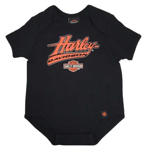 Harley-Davidson Baby Boys' Interlock Felt H-D Script Creeper, Black 0253094 - Wisconsin Harley-Davidson
