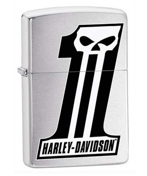 Harley-Davidson #1 Skull Logo Zippo Lighter Brushed Chrome Finish 28228 - Wisconsin Harley-Davidson