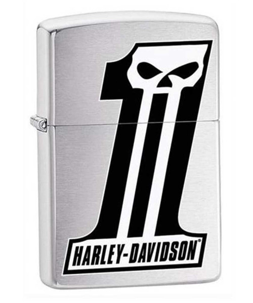 Harley-Davidson #1 Skull Logo Zippo Lighter Brushed Chrome Finish 28228 - Wisconsin Harley-Davidson