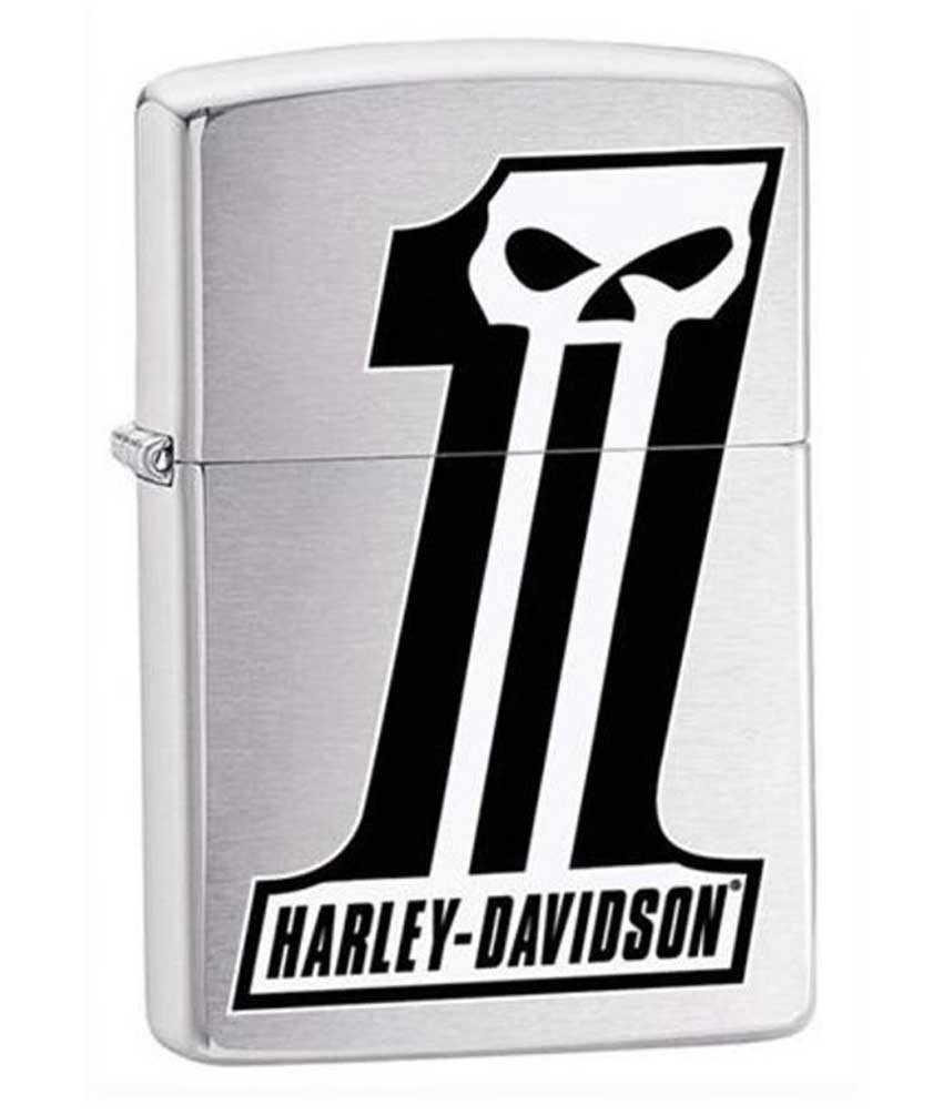 Harley davidson 1 skull logo zippo lighter brushed chrome finish 28228 wisconsin harley