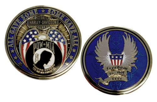 Harley-Davidson Freedom Is Not Free POW MIA Challenge Coin 1.75 Inch 8003012 - Wisconsin Harley-Davidson