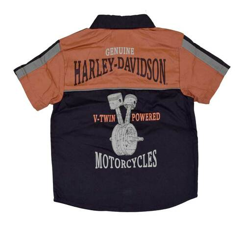 Harley-Davidson Big Boys' Shop Shirt, H-D Button Up Garage Tee, Black 4291386 - Wisconsin Harley-Davidson