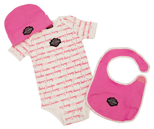Harley-Davidson Baby Girls' Pink Cotton Bib, Bodysuit & Hat 3-PC Set S9LGL60HD - Wisconsin Harley-Davidson