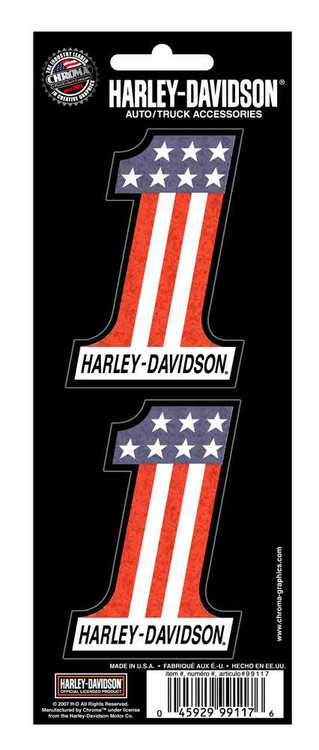 Harley-Davidson #1 Red White Blue 2-Piece Holographic Decals, 3 x 2 In.CG99117 - Wisconsin Harley-Davidson