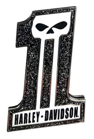 Harley-Davidson Glittery #1 Skull Logo Pin, Black Skull, 1.5 x 1 inch 126571 - Wisconsin Harley-Davidson