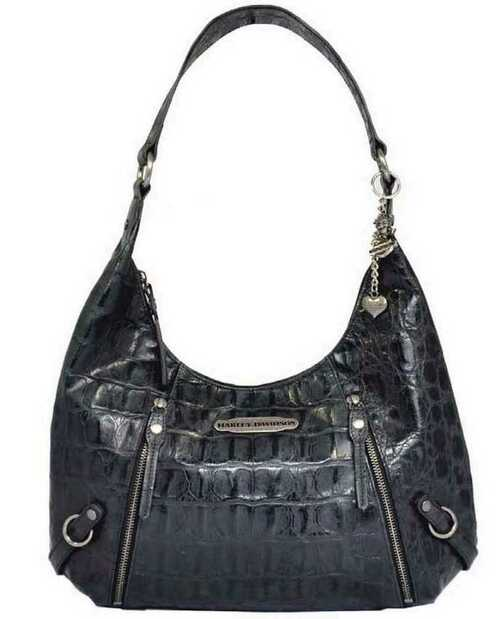 Harley Davidson Womens Black Hammered Croco Hobo Bag Purse HC7929L-BLK - Wisconsin Harley-Davidson