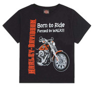 Harley-Davidson Little Boys' Born to Ride, Forced to Walk Tee Black 0174132 - Wisconsin Harley-Davidson