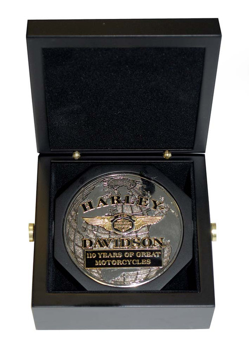 Harley-Davidson 110th Anniversary 3 Inch Medallion Wooden Collector Box HDMS0001 - Wisconsin Harley-Davidson