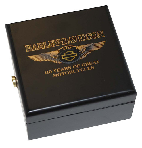 Harley-Davidson 110th Anniversary 3 Inch Medallion Wooden Collector Box HDMS0001 - Wisconsin Harley-Davidson