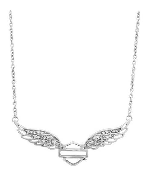 Harley-Davidson Womens Necklace, Bar & Shield Crystal Winged, Silver HDN0288 - Wisconsin Harley-Davidson