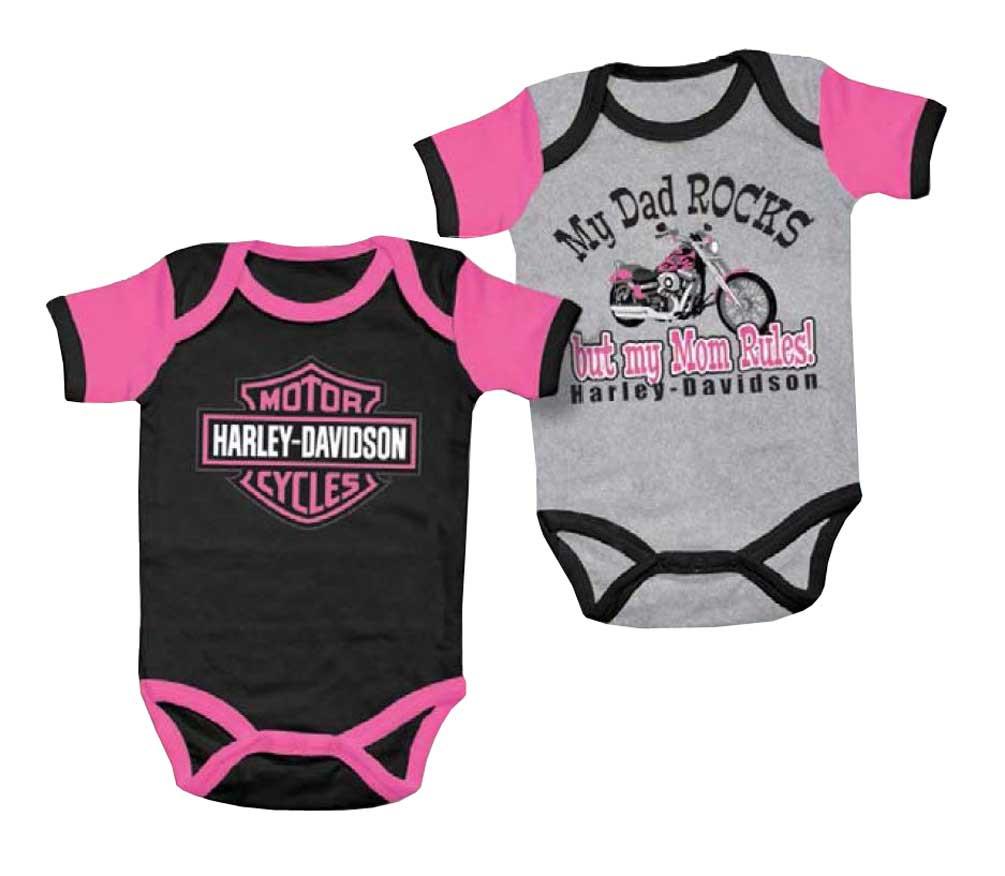 4f9b404b3 Harley-Davidson Baby Girls' Mom Rules Creeper Set, 2 Pack Gray/Black. Click  to enlarge
