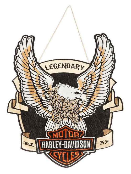 Harley-Davidson Embroidered Up-Winged Eagle Hanging Door Decor 2DHB4907 - Wisconsin Harley-Davidson