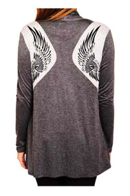 Harley-Davidson Women's Tribal Wings Long Sleeve Open Front Cardigan, Charcoal - Wisconsin Harley-Davidson