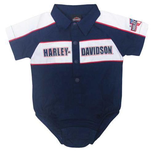 Harley-Davidson Baby Boys' Short Sleeve Newborn Woven Shop Creeper, Navy 3052617 - Wisconsin Harley-Davidson