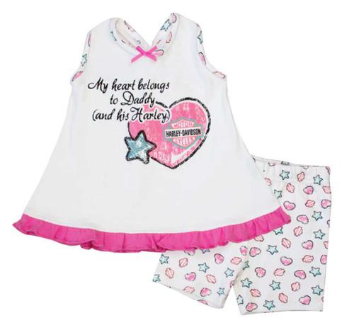 Harley-Davidson Baby Girls' Glitter A-line 2 Piece Short Set, Pink/White 2012607 - Wisconsin Harley-Davidson