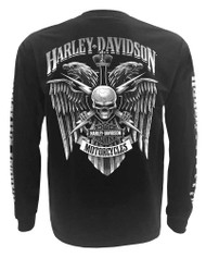 Harley-Davidson Men's Skull Lightning Crest Graphic Long Sleeve Shirt, Black - Wisconsin Harley-Davidson