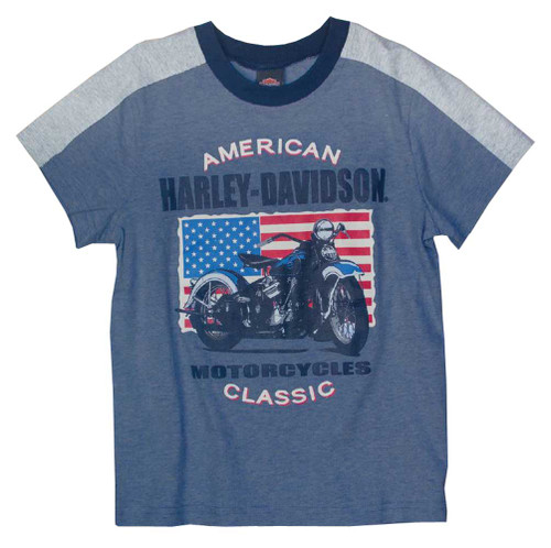 Harley-Davidson Big Boys' Patriotic Motorcycle Short Sleeve Tee, Blue 1092661 - Wisconsin Harley-Davidson