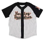 Harley-Davidson Big Boys' Striped Baseball Jersey, Black & White 1092637 - Wisconsin Harley-Davidson
