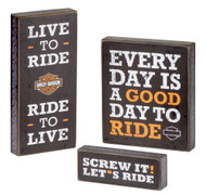 Harley-Davidson Wooden Harley Motto Pub Signs, Set of Three, Black HDL-15316 - Wisconsin Harley-Davidson