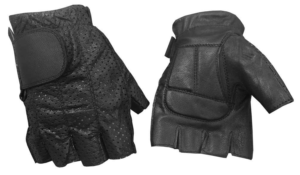 655e3c7b399126 Redline Men's Perforated Fingerless Motorcycle Leather Gloves, Black ...