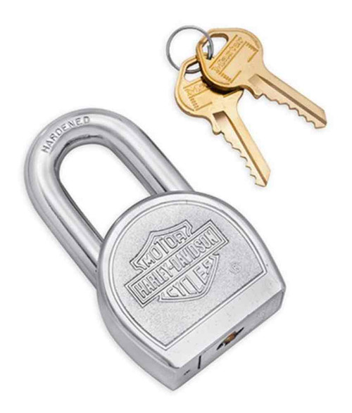 Harley-Davidson Embossed Bar & Shield Logo Padlock, Includes 2 Keys 45737-72A - Wisconsin Harley-Davidson