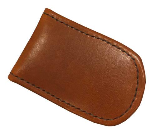 Genuine Leather Men's Leather Magnetic Money Clip, Brown Biker Leather MC-46 - Wisconsin Harley-Davidson