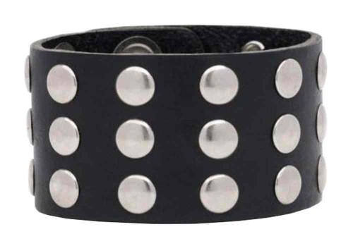 Genuine Leather Men's Three Row Rivet Wristband, 9.5 x 1.5 in Black Leather RW-1 - Wisconsin Harley-Davidson