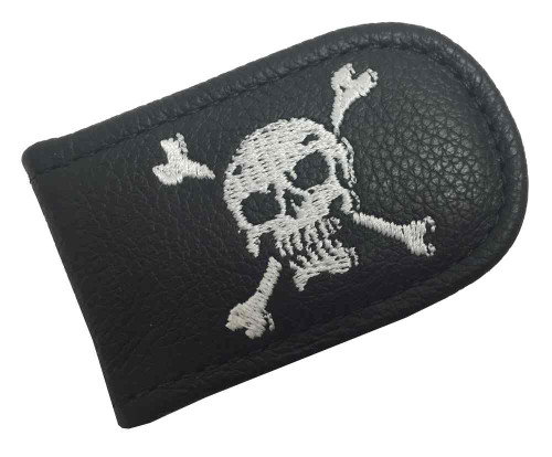 Genuine Leather Men's Embroidered Skull & Crossbones Leather Money Clip EC05-56W - Wisconsin Harley-Davidson