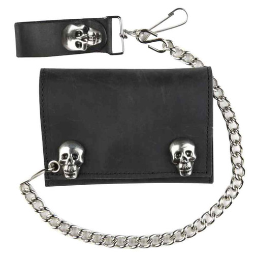 Genuine Leather Men's Metal Skull Snaps Tri-Fold Biker Chain Wallet, Black SK328 - Wisconsin Harley-Davidson