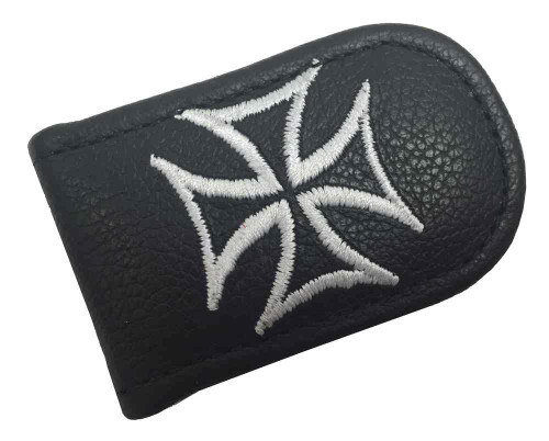 Genuine Leather Men's Embroidered Iron Cross Leather Money Clip, Black EC05-137 - Wisconsin Harley-Davidson
