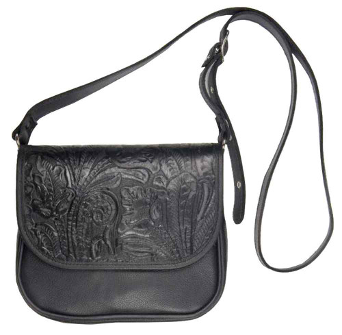 Genuine Leather Women's Embossed Floral Crossbody Purse, Leather Black BF646 - Wisconsin Harley-Davidson