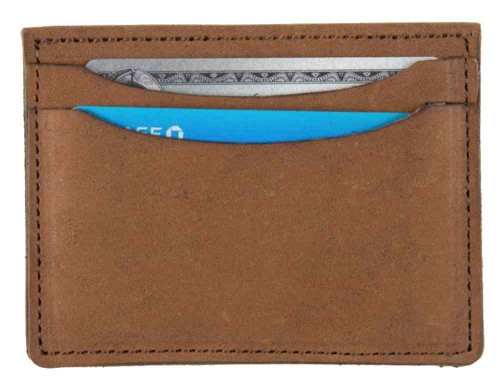 Genuine Leather Men's Double Sided Card Case Wallet, Brown Biker Leather PU955 - Wisconsin Harley-Davidson