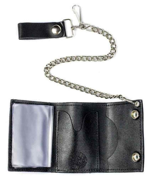 Genuine Leather Men's Skull & Crossbones Tri-Fold Chain Wallet, Black TC304-6 - Wisconsin Harley-Davidson