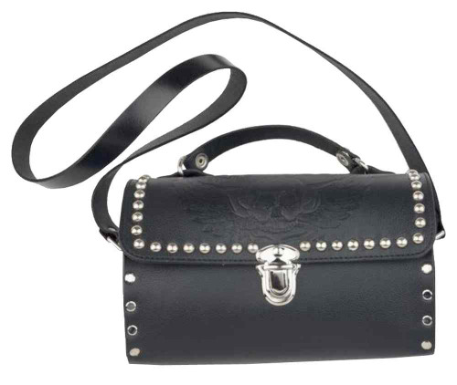 Genuine Leather Women's Embossed Winged Skull Studded Barrel Purse, Black SK36 - Wisconsin Harley-Davidson