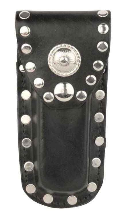 Genuine Leather Studded Knife Case, Fits 5 in Knives, Black Leather SC600R-5 - Wisconsin Harley-Davidson