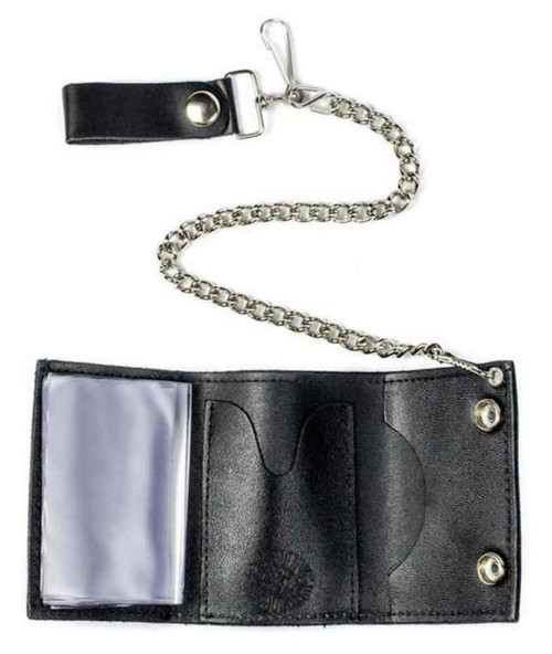 Biker Men's Multi Peace Signs Tri-Fold Chain Wallet, Genuine Leather TC304-220 - Wisconsin Harley-Davidson