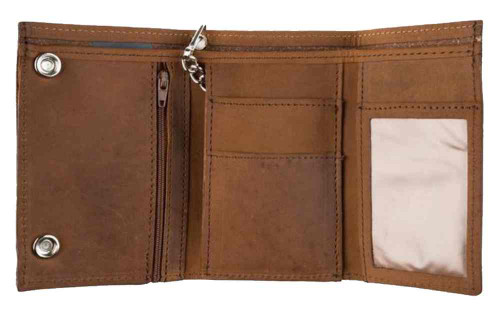Biker Style Mens XL TriFold Biker Chain Wallet w/ Indian Head Snaps Brown PIN337 - Wisconsin Harley-Davidson
