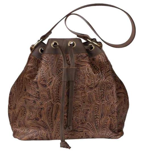 Genuine Leather Women's  Draw String Bag, Embossed Floral Design, Brown CF680 - Wisconsin Harley-Davidson
