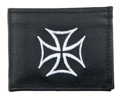Genuine Leather Men's Embroidered Iron Cross Billfold Wallet, Black FB816-IC1 - Wisconsin Harley-Davidson