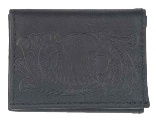 Genuine Leather Men's Eagle Scroll Distressed Leather Tri-Fold Wallet DT312-32 - Wisconsin Harley-Davidson