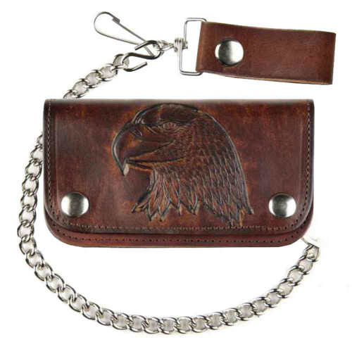 Biker Men's 6 in Embossed Eagle Head Antique Motorcycle Chain Wallet AB412-40 - Wisconsin Harley-Davidson