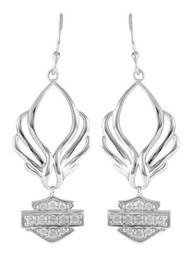 Harley-Davidson Women's Bling B&S Pierced Wings Drop Earrings, Silver HDE0413 - Wisconsin Harley-Davidson