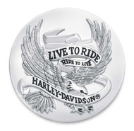 Harley-Davidson Live To Ride Eagle Chrome Medallion, 2.5 inches 99028-87T - Wisconsin Harley-Davidson