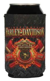 Harley-Davidson Firefighter Original Can Wrap Flat Black & Red Neoprene CF126581 - Wisconsin Harley-Davidson
