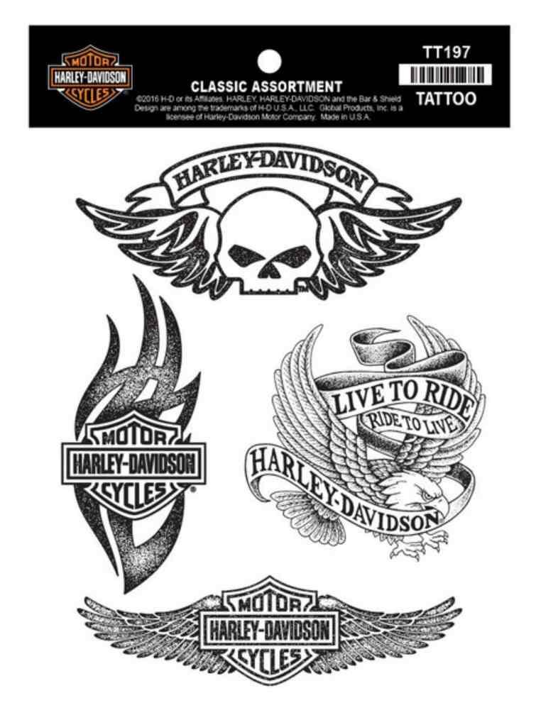Harley-Davidson® Temporary Tattoos, Classic Tattoo Assortment, Black TT197
