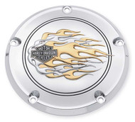 Harley-Davidson B&S Gold Flames Derby Cover, Fit Dyna, Softail & Etc. 25334-99A - Wisconsin Harley-Davidson
