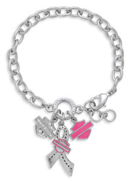 Harley-Davidson Women's Pink Label Bar & Shield Ribbon Charm Bracelet 99563-17VW - Wisconsin Harley-Davidson