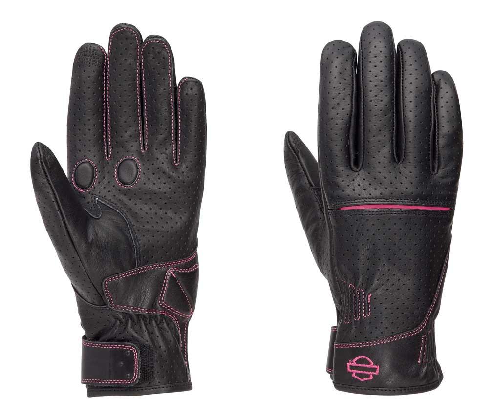 Harley-Davidson® Women s Pink Label Perforated Full-Finger Gloves ... 7e9c4cfc79